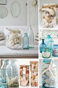como colocar conchas en tarros de cristal Summer Deco, Wordpress, Apartment Ideas, Beach House, Home Decor, Shells, Centerpieces, Crystals, Crates