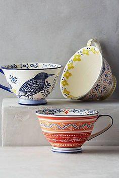 ceramic fine  tasses ornements subtils motif oiseau bird floral menues fleurs
