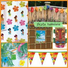 Ideas para la decoración de una fiesta hawaiana, en www.fiestaafcil.com / Ideas for a hawaiian party decoration, in www.fiestafacil.com