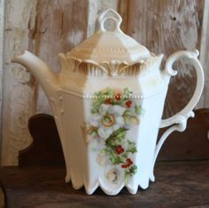 Beautiful Antique China Tea Pot, Christmas Rose and Holly Berry
