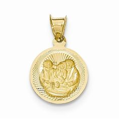14k Yellow Gold Baptism Circle Medal Pendant