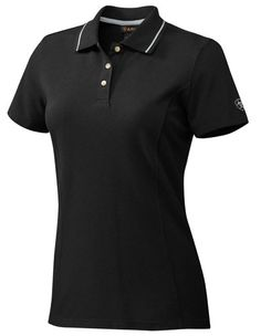 Ariat Stable Polo Shirt- Black with white detail