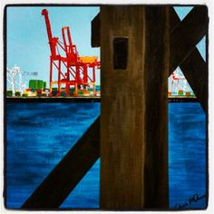 #fremantle #freo #port - Through the spans (painted by Chris McDonald, #bluelawndesigns)