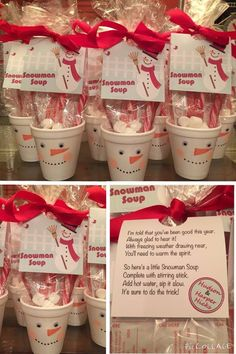 Snowman soup hot chocolate for Christmas classroom gifts. The snowman soup consists of a hot chocolate packet, mini marshmallows and a candy cane christmas gifts for teachers Noel Christmas, Christmas Goodies, Class Christmas Gifts, Christmas Recipes, Christmas Classroom Treats, School Christmas Party, Kindergarten Christmas, Christmas Chocolate, Classroom Holiday Gifts For Students