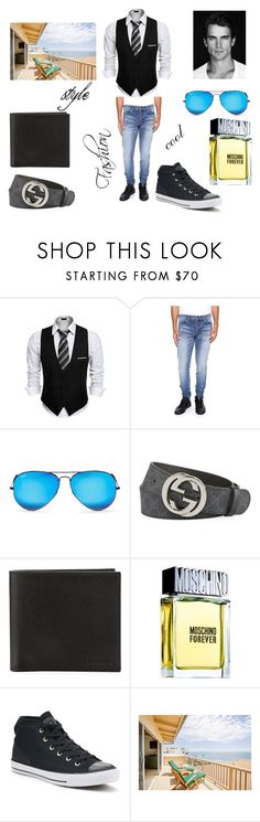 """beach party"" by armendberisha ❤ liked on Polyvore featuring Yves Saint Laurent, Ray-Ban, Gucci, Prada, Moschino, Converse, men's fashion and menswear"