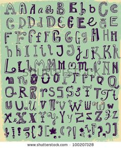 Whimsical Hand Drawn Alphabet Letters, with most common keystrokes: question marks, exclamation points, commas, brackets, stars, etc. by Lan...