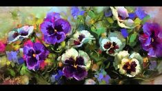 How to Paint Pansies Step by Step - Flower Painting Videos by Nancy Medi...