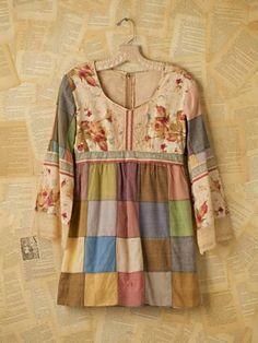 Vintage Patchwork Mini Dress