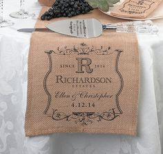 Personalized Vineyard Burlap Wedding Table Runner - Wedding Reception Items - Rustic Wedding - Wedding Themes - My Wedding Wedding Vase Centerpieces, Wedding Decorations, Table Decorations, Bride Groom Table, Colored Burlap, Burlap Table Runners, Printing On Burlap, Rustic Wedding, Wedding Ideas