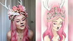 Forest Fawn Costume Makeup & DIY Antlers - YouTube