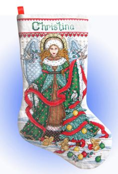 Design Works Counted Cross Stitch Kit - Christmas Angel Stocking Preview
