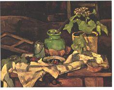 Acheter Tableau 'fleur `pot` à un table' de Paul Cezanne - Achat d'une reproduction sur toile peinte à la main , Reproduction peinture, copie de tableau, reproduction d'oeuvres d'art sur toile