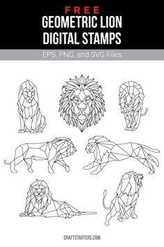 Free Geometric Lion Digital Stamps - Free geometric lion digital stamps for card making, scrapbooking, and more (personal use only). Geometric Arrow, Geometric Drawing, Geometric Face, Geometric Lion Tattoo, 3d Zeichenstift, Digital Stamps Free, Graphic Design Lessons, Lion Illustration, Lion Design