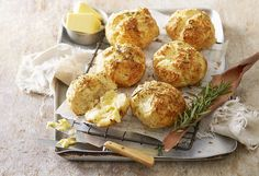 Update one of the classic Australian recipe favourites, in this cheese and rosemary damper rolls. Making six, these are great to pack into school lunch boxes.