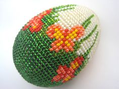 Vintage Beaded Easter Egg - Decorative Egg Spring Brick Stitch Beadwork on Etsy, $24.00