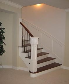 White Curved Staircase With Unique Handrail By Stair.com