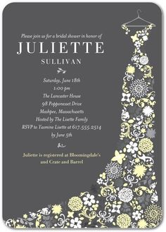 wedding paper divas personalized bridal shower invitations garden gowned featuring a wedding