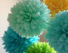 Summer Breeze .. 5 Tissue Pom Poms .. Wedding Reception Decor .. Bridal Shower .. Baby Shower Decor via Etsy