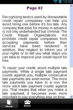 """Credit Repair Tips<p>Is your credit score lower than you would like it to be? Credit repair is something that can be undertake by anyone who is willing to do what it takes. Read our tips and you will find out how you can get your credit score back to where you want it to be.<p><p><p>This App is 100%  free <p>So why are you waiting for-<br> <br>""""Download Now""""  http://Mobogenie.com"""