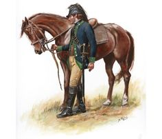 """1st Continental Light Dragoons, by Don Troiani. Also known as """"Bland's Horse"""" (after the first commander, Theodorick Bland). Formed in 1776, it saw action throughout the Revolutionary War, including the major battles of Brandywine, Guillford Courthouse and Germantown."""