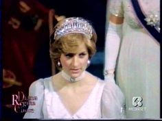 Princess Diana wearing a beautiful tiara.