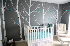 Decoration Interior. Relaxing Turquoise Room Ideas With Wall, Furnitures And Accessories Set Off: Charming Turquoise Room Ideas For Baby Nursery Decors With Trees Wall Sticker Decals And White Convertible Baby Crib Rails In Small Baby Boys Room Designs