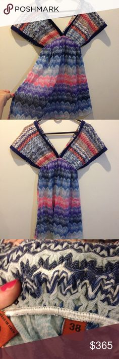 MISSONI Deep V Beach Coverup Dress Tunic In great condition, by Missoni. Is knit up top and multi-colored the bottom half is sheer and also multi-colored. Can be worn as a dress, beach coverup or tunic. This is gorgeous and rare, get it while it lasts! A luxurious addition to your summer wardrobe. Size is 38, fits a small- medium on average. In Italian size. Missoni Swim Coverups