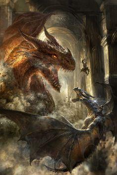 ArtStation - The Iron Dragons, Joe Requeza Fantasy Magic, Fantasy Dragon, Dark Fantasy, Mythical Creatures Art, Magical Creatures, Artwork Fantasy, Monster E, Painting & Drawing, Cool Dragons