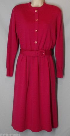 TALBOTS size 12 Pink 100% Wool Knit Dress Lined with Belt Long Sleeve
