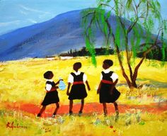 """Schoolgirls"" by Katherine Ambrose (South Africa) African Paintings, African Artists, South African Art, African American Art, History Images, Art History, Africa Art, Book Illustrations, Art Portfolio"