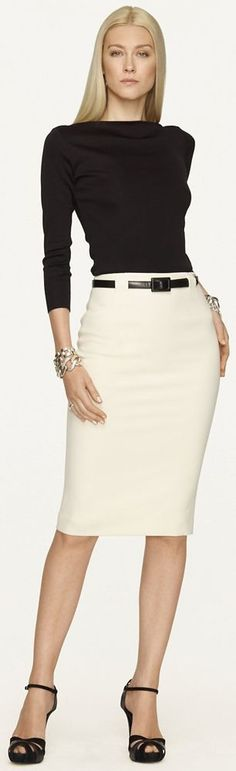 Ralph Lauren Black Label Skirt Fashion Trend cream and black work outfit Office Attire, Office Outfits, Work Attire, Office Wear, Work Outfits, Stylish Outfits, Outfit Work, Casual Attire, Office Fashion