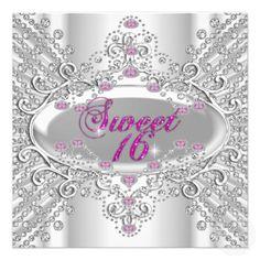 Sweet 16 Sixteen 16th Birthday Party Pink Diamonds Custom Invite