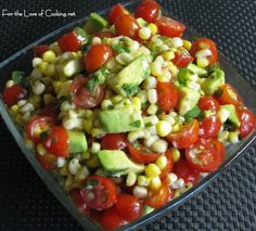 Grilled corn, avocado and tomato salad with honey lime dressing#Repin By:Pinterest++ for iPad#