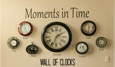 Wall of Clocks - includes time zones for grandparents  denise designed