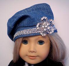 18 inch Doll Clothes. Handmade Girl Doll by BettyAllanDesigns.  Denim Beret Hat with Rhinestone Trim.