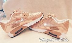 Bling Womens Nike Air Max 90 Rose Gold with Swarovski crystals by ShopBlingedOutKicks on Etsy