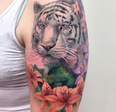 White tiger tattoo with lillies , orchids , plumeria. Animal portrait. Pastel…