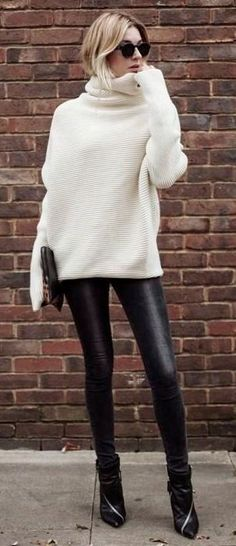 white and black outfit / sweater + boots + leather pants