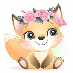 Cute baby foxy with floral Premium Vecto. Baby Animal Drawings, Cute Drawings, Watercolor Flower Background, Floral Watercolor, Cute Images, Cute Pictures, Vintage Clipart, Bisous Gif, Baby Animals