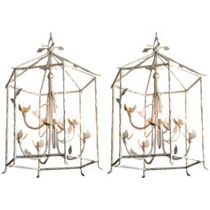 Pair of Large White Gesso Chandeliers