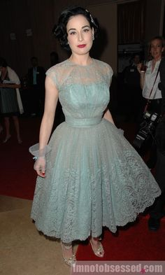 Dita von Teese in light blue lace dress and Christian Louboutin heels, April 2009. That lace!!! <3
