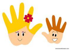 Madre e figlio realizzati con le sagome delle mani. Idea da tenere presente come lavoretto per la Festa della Mamma. LAVORETTO FESTA MAMMA Materiale: carto