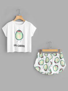 220df23c86bb Cartoon Avocado Print Tee And Shorts Set - Jennifer s Closet