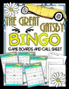 The Great Gatsby Bingo: Instructions, Game Boards, and Call Sheet