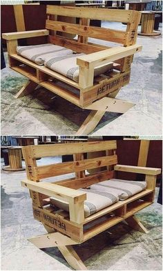 20 Brilliant DIY Pallet Furniture Design Ideas to Inspire You - diy pallet creations - Great DIY pallet ideas to try this year - Pallet Furniture Designs, Wooden Pallet Projects, Wooden Pallet Furniture, Pallet Crafts, Wooden Pallets, Diy Furniture, Pallet Benches, Pallet Cushions, Palette Furniture