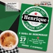 Convite Festa Boteco Heineken para imprimir