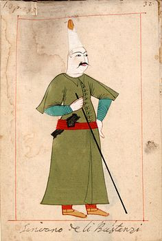 """Secretary of the """"gardeners""""   """"Scrivano de li Båstangi"""". The 'Rålamb Costume Book' is a small volume containing 121 miniatures in Indian ink with gouache and some gilding, displaying Turkish officials, occupations and folk types. They were acquired in Constantinople in 1657-58 by Claes Rålamb who led a Swedish embassy to the Sublime Porte, and arrived in the Swedish Royal Library / Manuscript Department in 1886."""