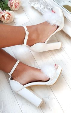 Alena Fluffy High Heels - Style && such - Ankle Strap Heels, Pumps Heels, Stiletto Heels, Heeled Sandals, Heels Outfits, Sandals Outfit, Dress Shoes, Women's Shoes, High Heels Outfit