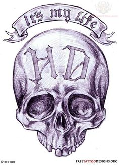 |It's My Life Harley Davidson Tattoo Design | #chopperexchange #bikertattoos #tattoo #skull #livetoride #harley