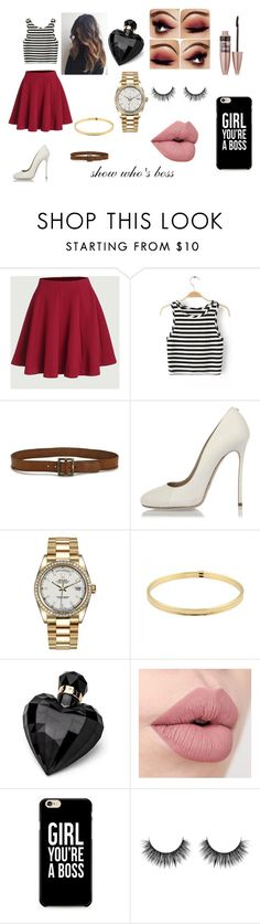 """""""show whos boss"""" by annmariehiggins on Polyvore featuring Paige Denim, Dsquared2, Rolex, Tiffany & Co., Lipsy and Maybelline"""